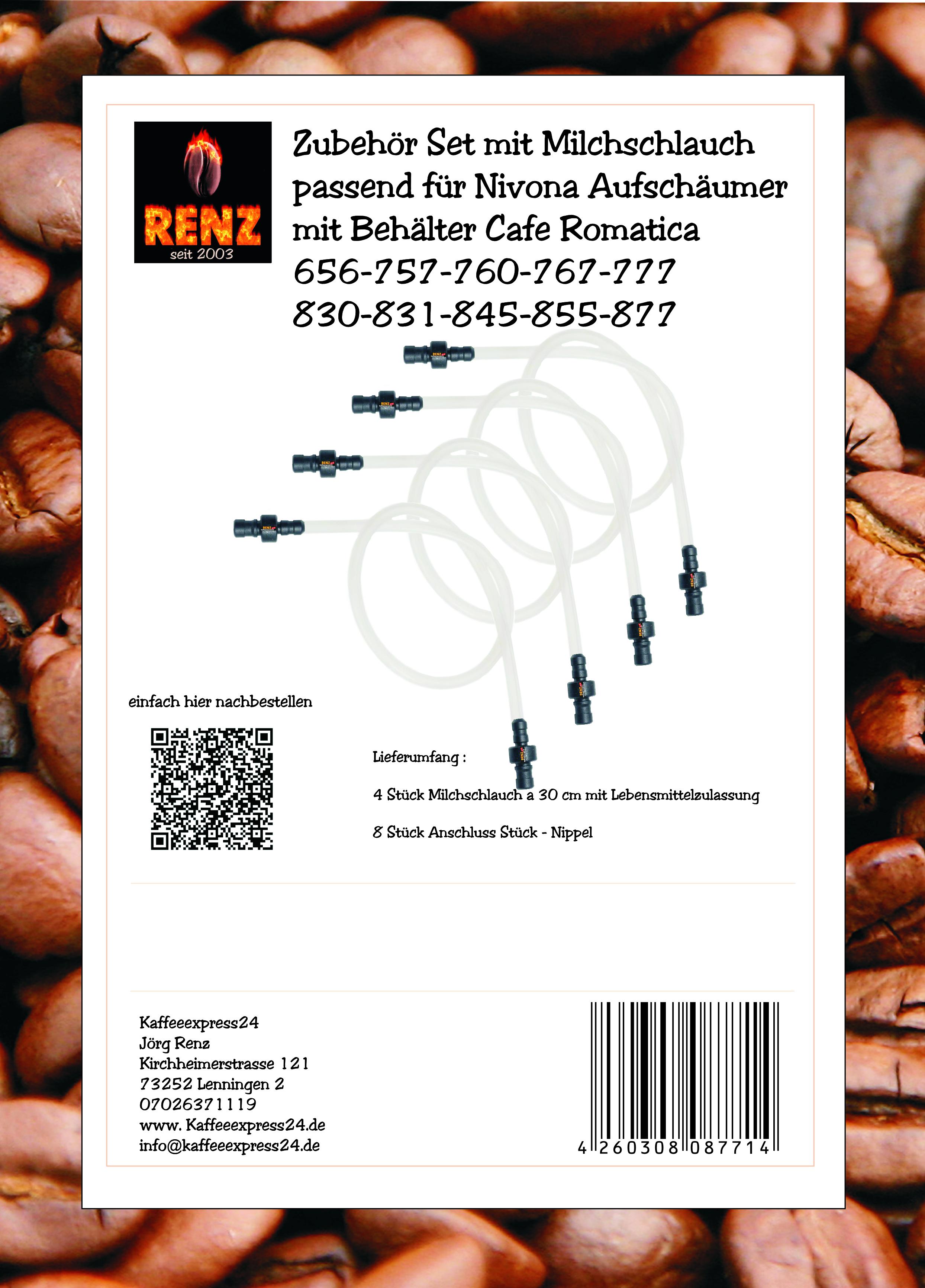 Zubehör Set mit Milchschlauch passend für Nivona Aufschäumer mit Behälter Cafe Romatica 656-757-760-