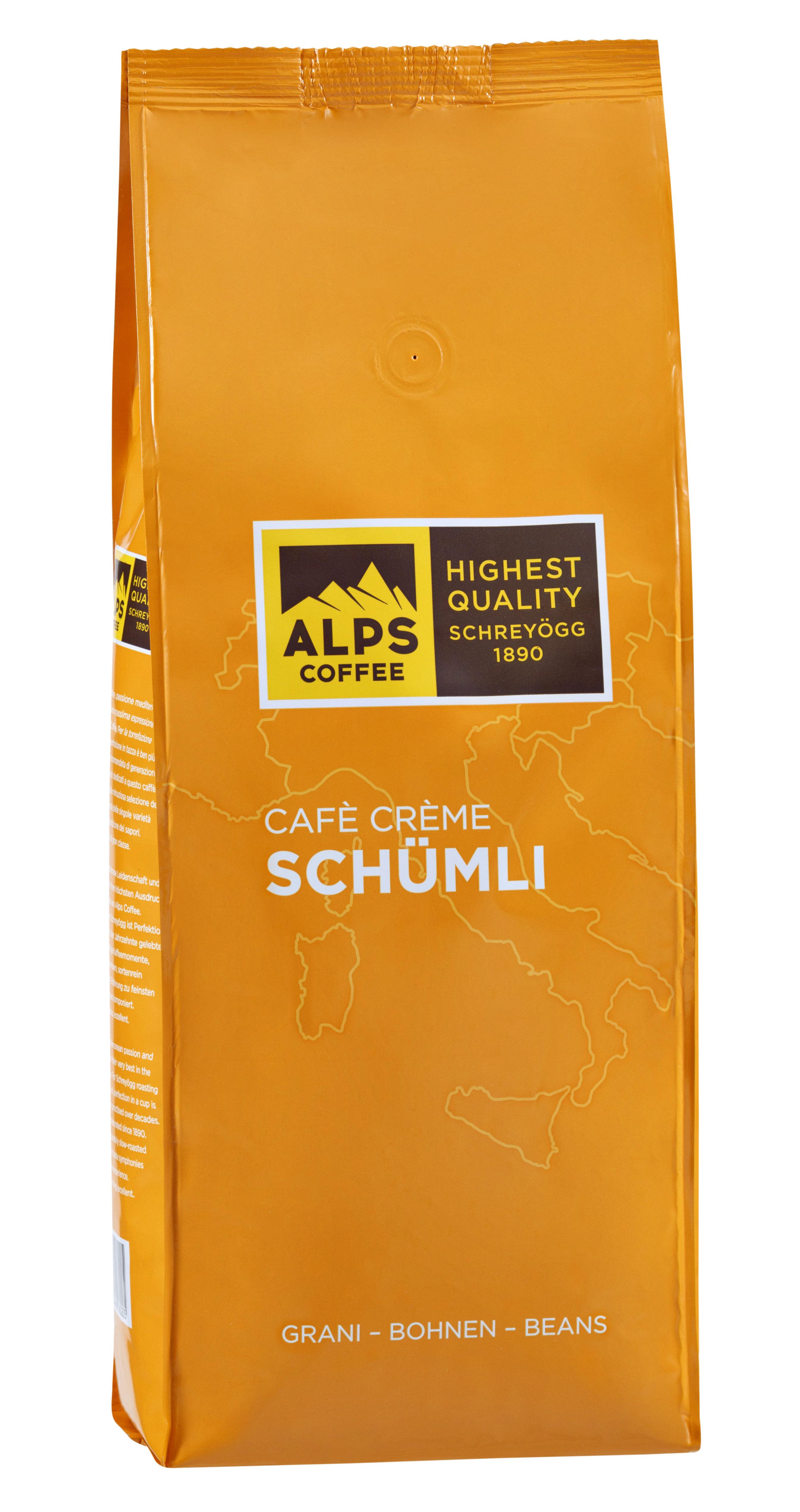 ALPS Coffee - Schreyögg Schümli Cafe Creme Espresso Kaffee 500 Gramm Bohnen