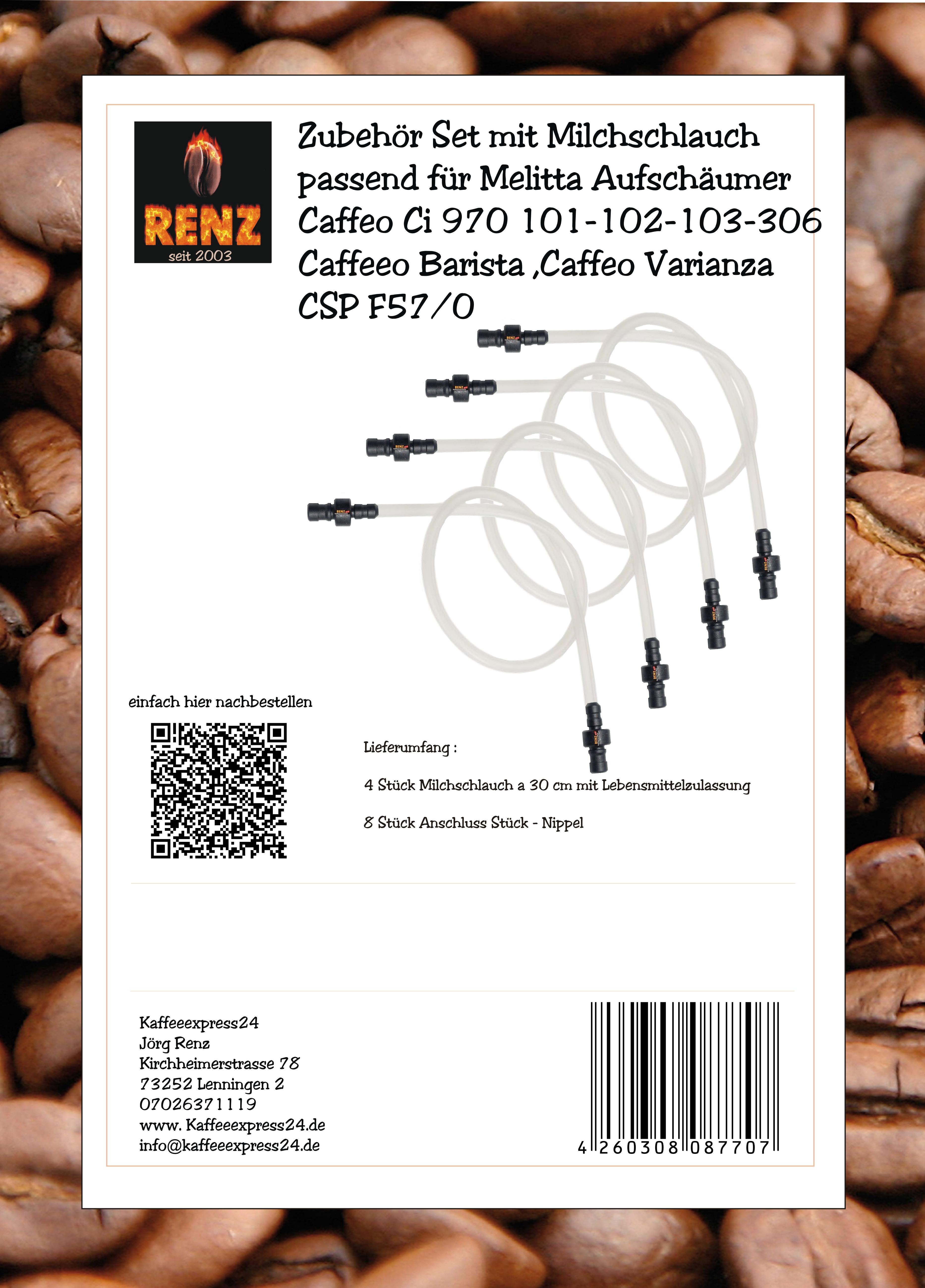Zubehör Set mit Milchschlauch passend für Melitta Aufschäumer Caffeo Ci 970 101-102-103-306 Caffeeo